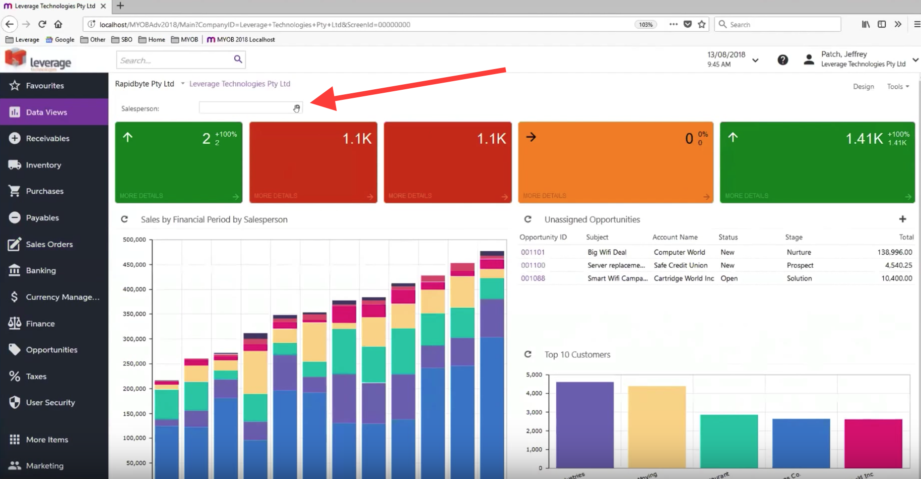 Dashboard by Sales Person with Parameters in MYOB Advanced