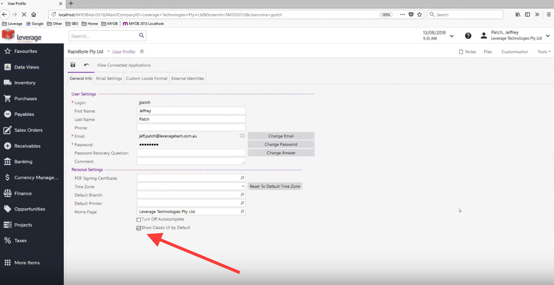 Permanent switch to new interface in MYOB Advanced 2018.1