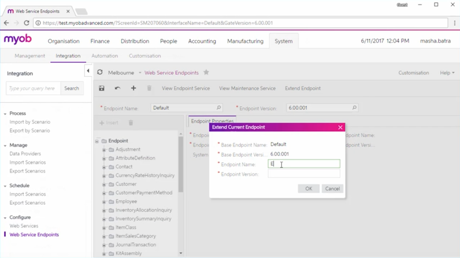 Extending an Existing endpoint within MYOB Advanced