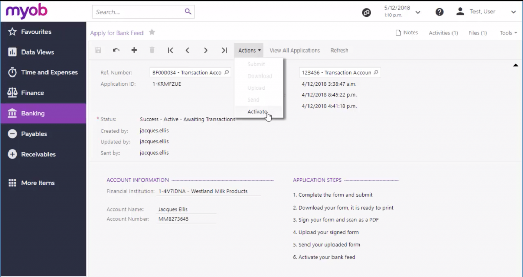 Activate a Successful Bank Feed in MYOB Advanced