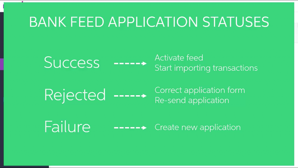 What's the status of my Bank Feeds application within MYOB Advanced?